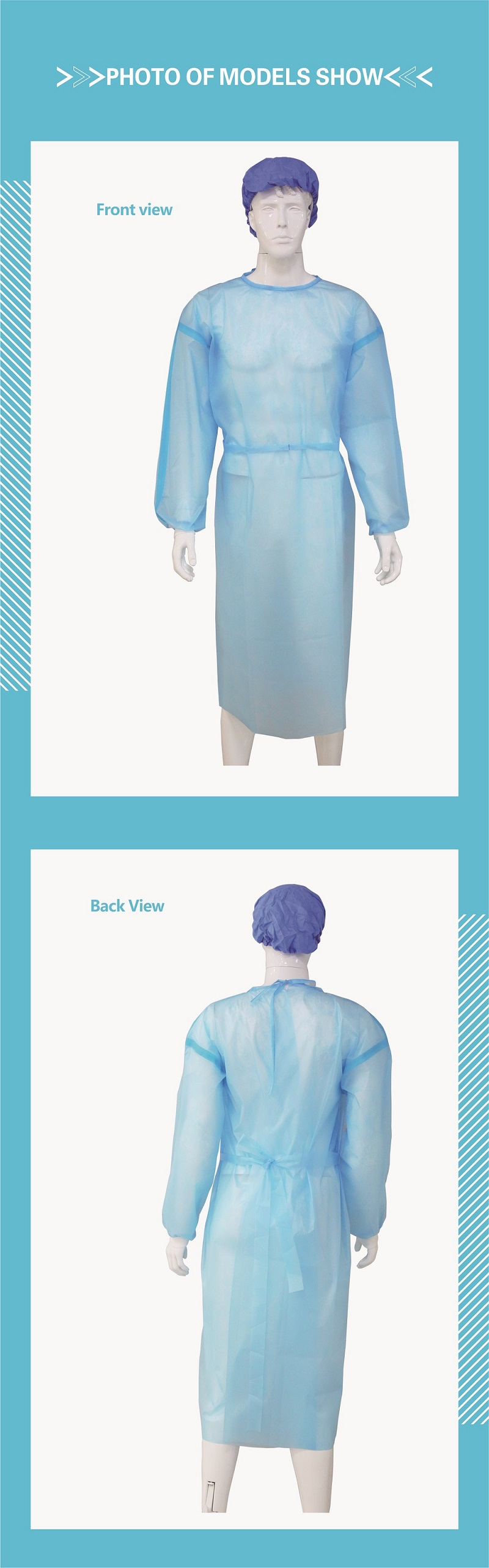 Disposable Isolation Clothes(PP PE with adhesive tape)